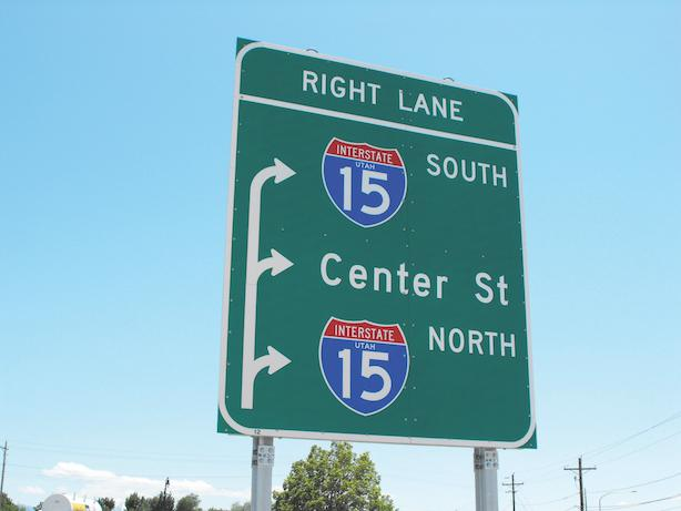 Green interstate sign