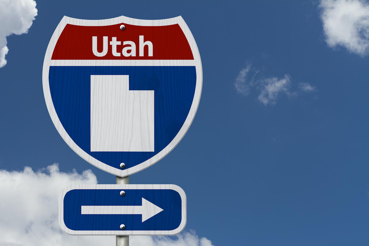 Blue highway sign